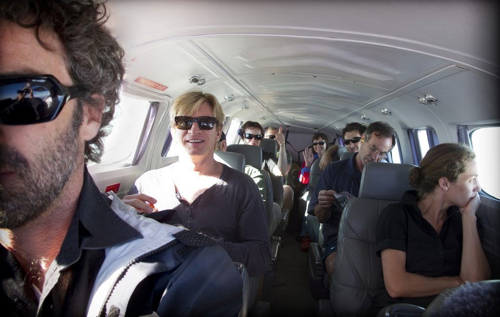 Oranges and Sunshine cast and crew on a light plane to Arkaroola. Feburary 2010.