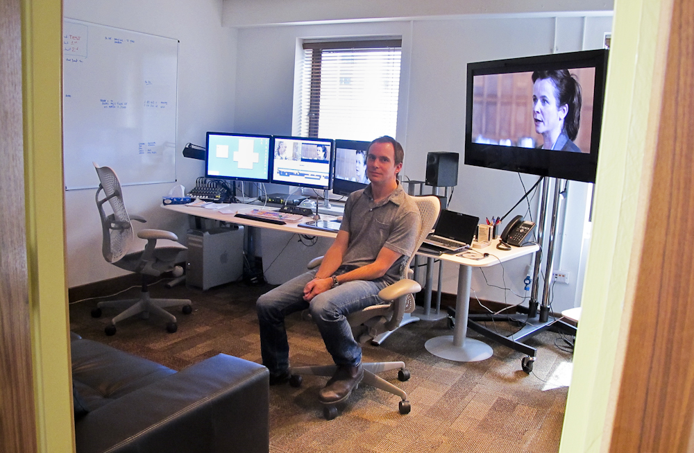 Jim Loach in the editing room at Air Post.