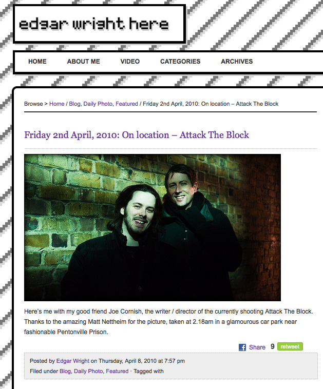 My snap of Edgar Wright and Joe Cornish as it appeared on Edgar's site.