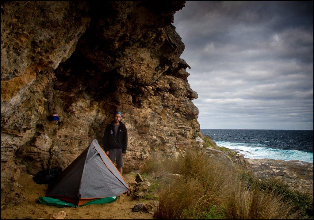 My cliff face camping spot above a secret beach on Kangaroo Island's south coast.