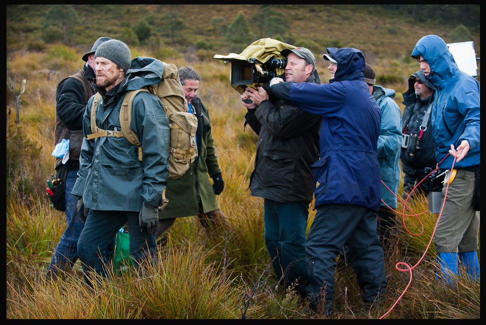 The Hunter. Willem Defoe and wet crew in Tasmania. Robert Humphries on camera expertly assisted by my friend Kevin Scott.