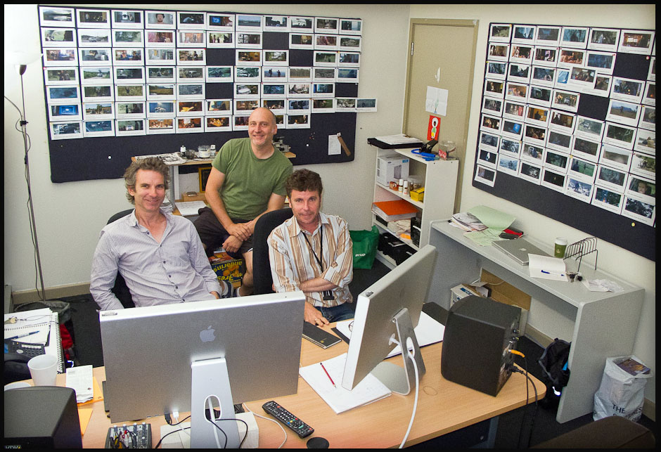 The Hunter editing room with editor Roland Gallois (L), producer Vincent Sheenan and director Daniel Nettheim.