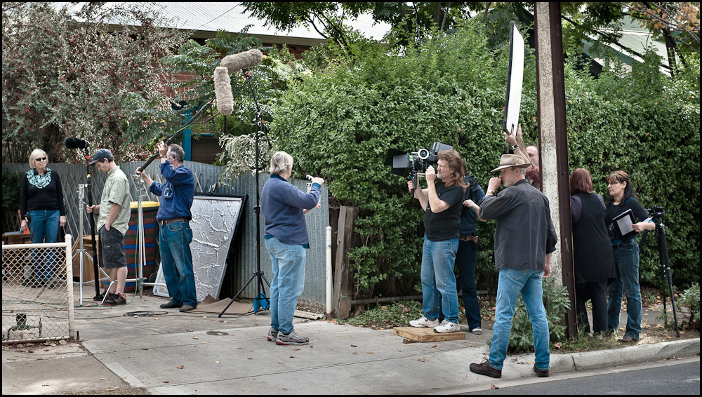 The King is Dead! crew on location in West Croydon, Adelaide.