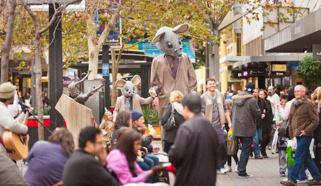 "The Blind Mice make their debut outing in Adelaide""s Rundle Mall. I am the tall one."