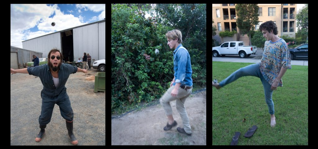 Celebrity Hacky Sack 2012; Actors Angas Sampson, Xavier Samuel and James Frencheville all qualified.