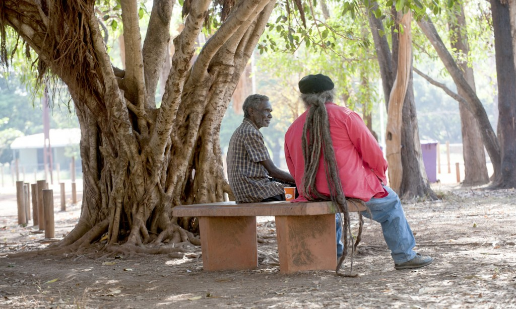 Artist and musician Bobby Bununggurr talks to former Bulla Bulla Arts curator Djon Mundine, Raminginning.