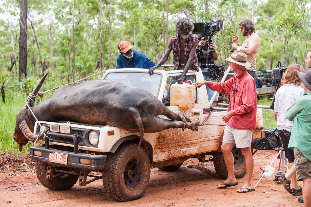 Rolf de Heer directs David Gulpilil and Peter Djiger on location in Raminginning.
