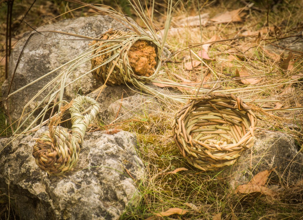 A woven rock (laterite), rattle and basket from my Stun Sail Boom River series.