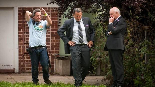 Matt Saville, Anthony LaPaglia and John Clarke on the set of A Month of Sundys.