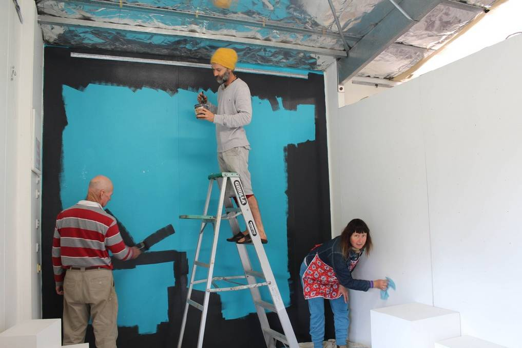 Ky, Wren Lashmar and myself prepare the walls at Artworks for our exhibiton.