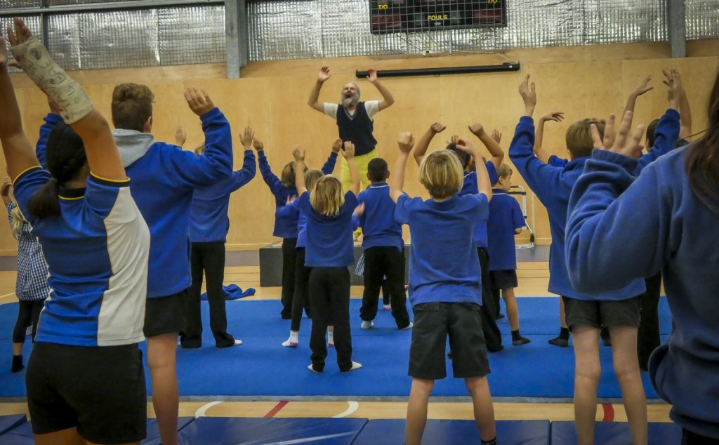 Laughing yoga with the kids at Penneshaw Primary School, Kangaroo Island.