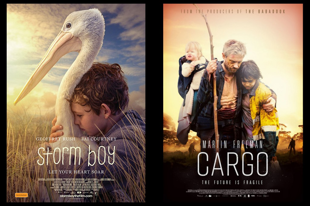 Storm Boy and Cargo movie posters featuring my photographs.